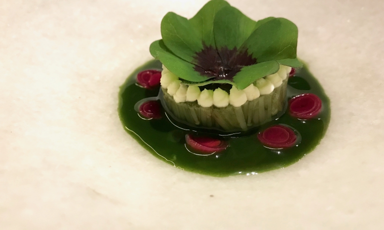 A beautiful dish, Esponja de enoki, a sponge of roots from the enoki mushrooms with green onions, beetroot and seaweed