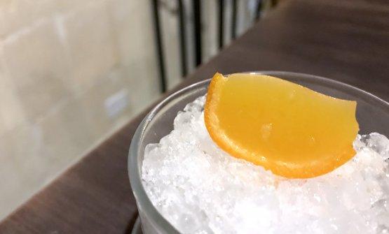 Clementina in gel, buccia confit