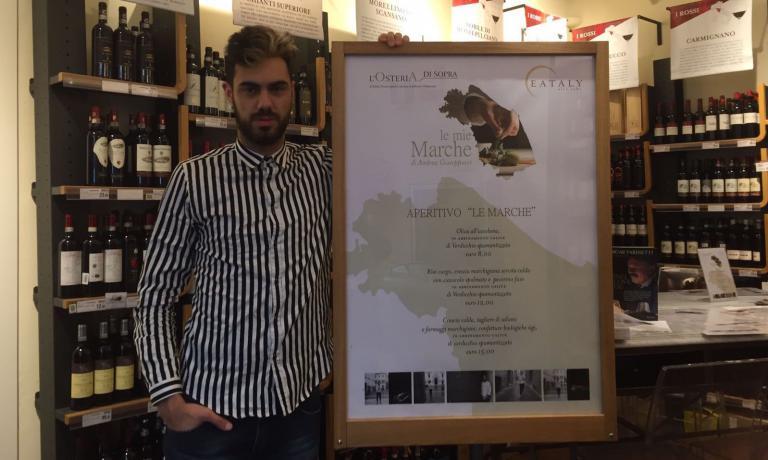 Andrea Giuseppucci, 25 anni, chef dellaGattabuiadi Tolentino (Macerata), insegna chiusa dopo il sisma del 30 ottobre scorso. La cucina di Angelucci si può provare da Eataly Firenze (fino al 28 febbraio), Eataly Torino (1-31 marzo) e Eataly Smeraldo a Milano (1-30 aprile)
