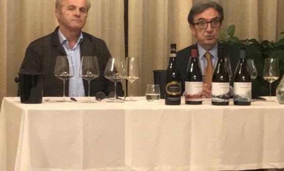Diego Cottini e Riccardo Cotarella durante la degustazione