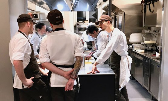 Alija in the kitchen of Identità Golose Milano, the first international hub of gastronomy