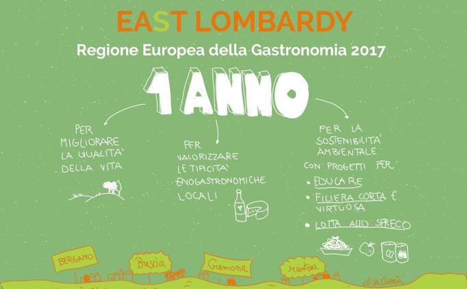 ERG - European Region of Gastronomyè un progetto internazionale per la valorizzazione dei migliori territori della gastronomia nel continente: per il 2017 le province di Bergamo, Brescia, Cremona e Mantova, raccolte sotto l'insegna East Lombardy nesaranno protagoniste