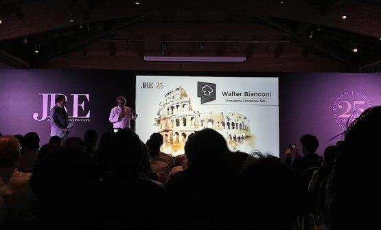 Walter Bianconi, fondatore nel 1993 e primo presidente della sezione italiana dei Jeunes Restaurateurs d'Europe, durante i lavori del congresso a Roma il 23 aprile scorso. Allora patron con la moglie Donata del Tivoli a Cortina d'Ampezzo in provincia di Belluno, Bianconi rimase in carica fino al 1997. Foto Paolo Marchi