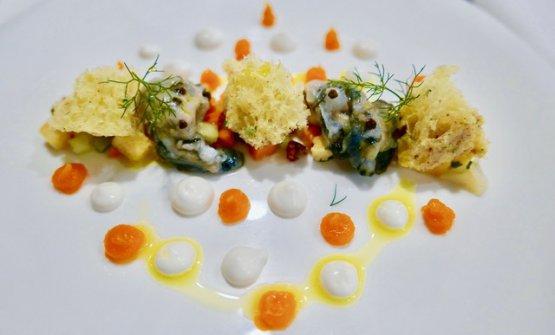 Ostrica Gillardeau con pinzimonio di ortaggi mediterranei, maionese di cicerchia e falso pepe
