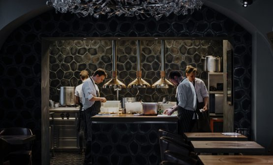 The open view kitchen at La Degustation Bohëme b