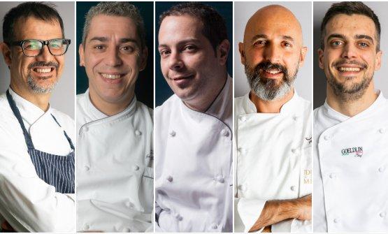 Gli chef della serata. Da sinistra:Antonio Guida,Federico Dell'Omarino,Nicola Di Lena,Andrea RibaldoneeSimone Maurelli