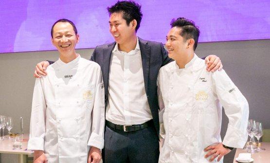 Marco Liu con gli chefBryan HooieWu Chee Kean