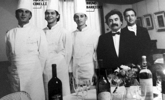 Un foto storica del Trigabolo, Barbieri è il terzo da sinistra