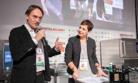 Piero Gabrieli con Francesca Romana Barberini, presentatrice di Identità di pane e pizza