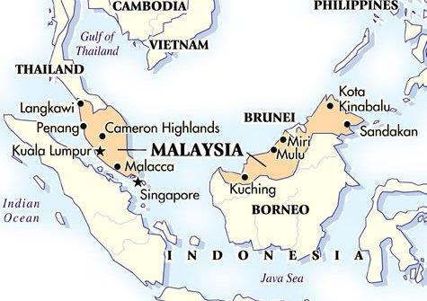 Una mappa della Malaysia, nel Sud-Est asiatico