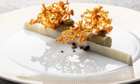 Semifreddo al pistacchio di Bronte, ricotta di pecora, olio e olive