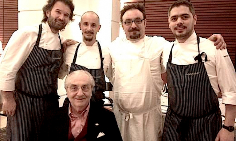 Marchesi with his three most famous pupils: Carlo Cracco, Enrico Crippa and Paolo Lopriore. Matteo Baronetto is the last to the right