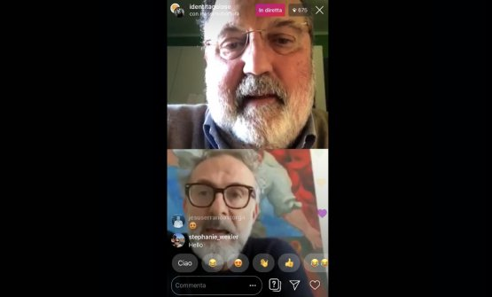 A frame from the live interview withPaolo MarchiandMassimo Bottura