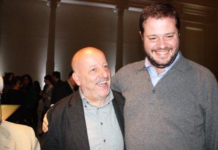Marco Bolasco (a destra) con il suo maestro Stefano Bonilli. Il libro è dedicato a lui e a Bob Noto