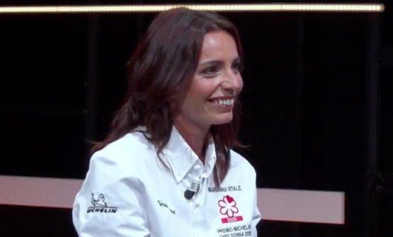 Marianna appena dopo la premiazione online. Il titolo si aggiunge a quello di Miglior Chef Donna assegnato dalla Guida di Identità Golose nel 2015
