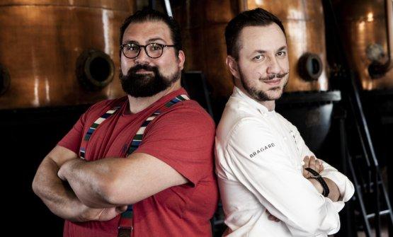 Lo chef Dario Guidi dell'Antica Osteria Magenes di Barate di Gaggiano (Mi) e il bartender Yuri Gelmini