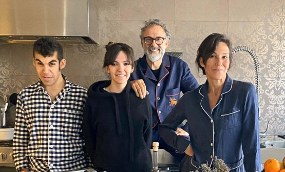 The Bottura family in their home kitchen, hosting Kitchen Quarantine, live each night at 8 pm CET. With the chef, left, children Charlie and Alexa and wife Lara Gilmore (photo Fine Dining Lovers)
