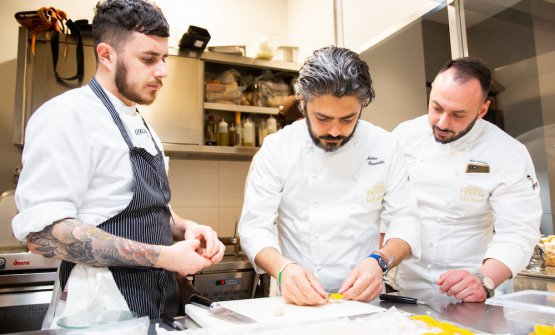 At work with Alessandro Rinaldi, resident chef at Identità Golose Milano (to the right), and Charles Pearce, chef de partie in Via Romagnosi