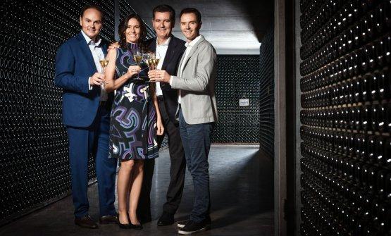 Da sinistra:Matteo, Camilla, Marcello e Alessandro Lunelli