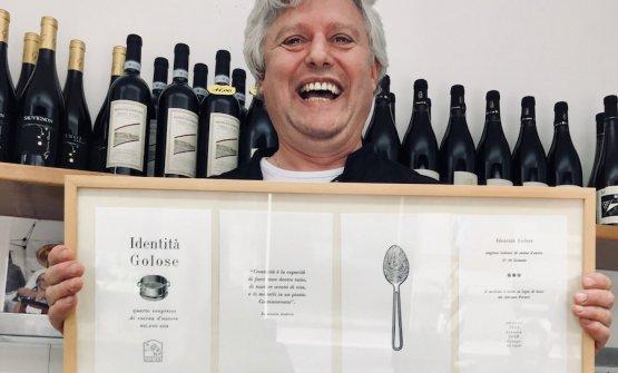 Mauro Brun e il quadro ricordo come relatore a Identità Golose 2008