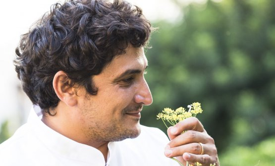 Mauro Colagreco in the vegetable garden of his re