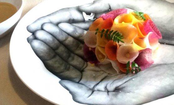 Un bellissimo piatto presentato alla scorsa edizione di The Vegetarian Chance:Mazzolino, ricetta di Hitoshi Sugiura