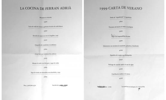 Two menus at elBulli, from 1999: prices were still in Pesetas, of course. Oldani keeps them as a treasure