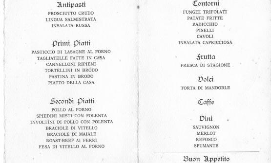 Un menu de Agli Amici del 1976
