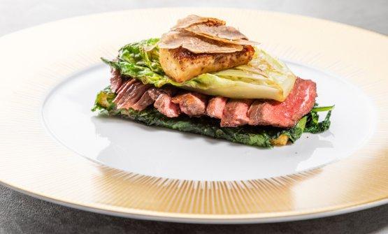 Diaframma, lattuga arrosto e foie gras caramellato
