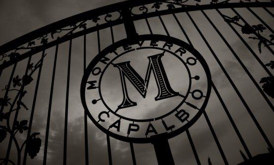 Il marchio dell'azienda Monteverroimpresso sul cancello d'ingresso della tenuta, ai piedi della collina su cui sorge il borgo di Capalbio