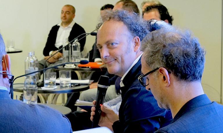 Moreno Cedroni durante l'incontro del giugno 2013 a Roma tra una decina di chef italiani e l'allora ministro della cultura Massimo Bray