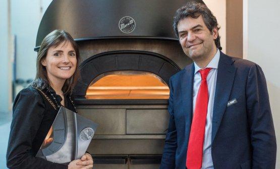 Mario Moretti, ceo & general manager diMoretti Forni, con Federica AnniballidiAP Architettidi Pesaro. A lei si deve il design dei forniMoretti, come ilNeapolise ilProven