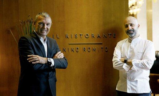 Niko Romito con Jean Christophe Babin, CEO di Bulgari