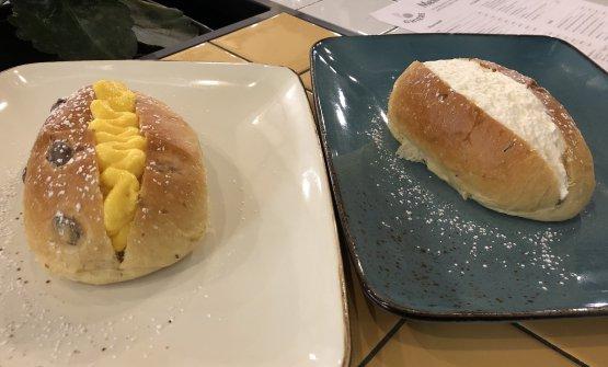 I Maritozzi,farciti con crema pasticcera o panna fresca