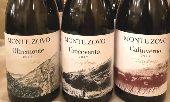 Oltremonte 2018, cioè il Sauvignon Blanc, il Crocevento 2017, Pinot Nero, e il Calinverno 2015