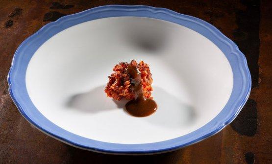 Riso riscaldato al concentrato di pomodoro, prugna, vermouth