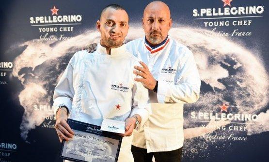 Buono con il mentore che lo guiderà alla finalissima del S.Pellegrino Young Chef 2018,Frédéric Anton, tre stelle Michelin con il ristorante pariginoLe Pré Catelan