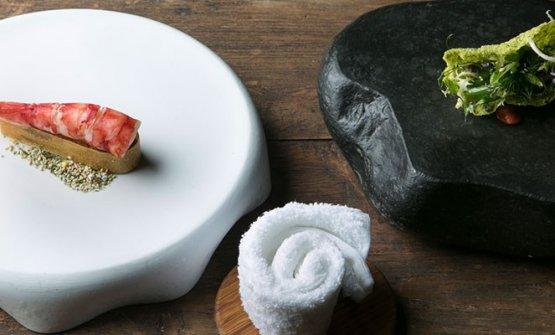 Il piatto di Fumagalli:Gambero Carabiniere, animelle glassate, alga croccante e insalatina aromatica