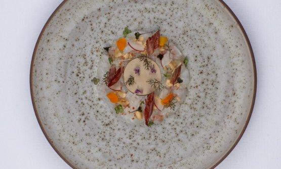 Crudo di scampi e foie gras alla nocciola: il piat