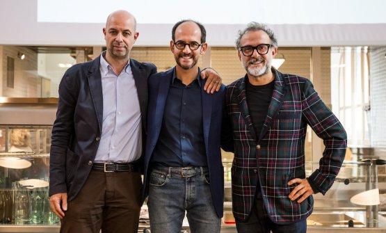 Stefano Ronzoni, direttore Mini, Roberto Olivi,direttore relazioni istituzionali e comunicazione Bmw, e Massimo Bottura