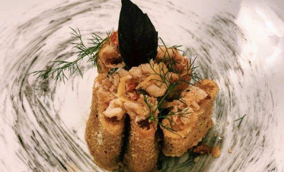 Paccheri di Gragnano crunchy al ripieno di mazzancolle
