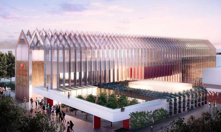 Un'immagine di quello che sar� il padiglione della Spagna a Expo Milano 2015: mentre si avvicina il giorno dell'inaugurazione, si moltiplicano presentazioni e anteprime di quanto accadr� all'esposizione universale