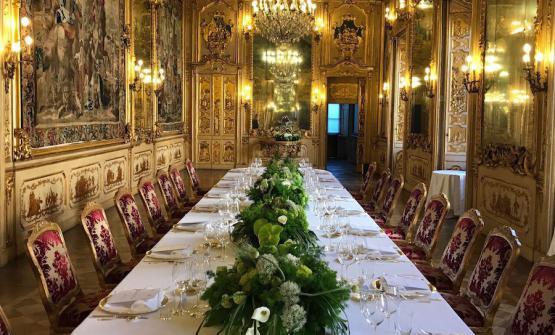 La Sala Tiepolo di Palazzo Clerici a Milano prima della cena in onore di Barack Obama