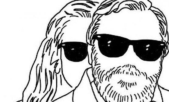 Paola e Gianni Mura ritratti stilizzati, merito di Stefano Savi Scarponi, nella testata della rubrica Mangia & Bevi che curavano da quasi trent'anni nel Venerdì di Repubblica