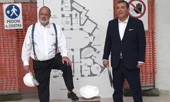 Paolo Marchi, left, andClaudio Ceroniin the building site ofIdentità Golose Milano