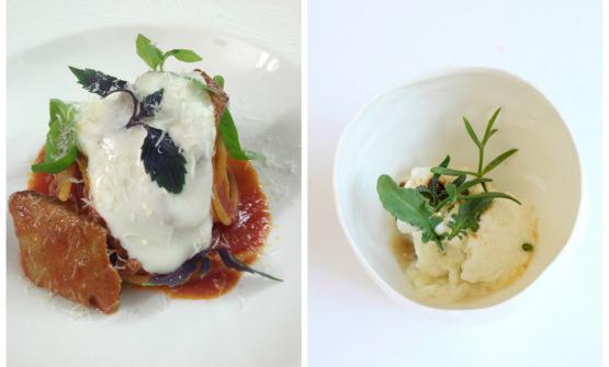 Lo Spaghetto con stracotto di tonno, basilico e spuma di pecorinoe ilSorbetto al finocchio di marepresentati da Gianfranco Pascucci