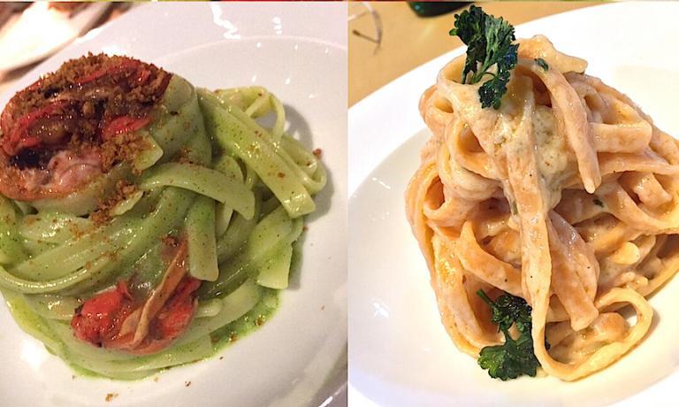 Due diverse fettuccine prodotte dal Pastificio De Luca e trasformate in due ottimi piatti da Alfredo De Luca al Malcandrino. A sinistra quelle classiche, in un pesto leggero e cozze pelose a crudo, a destra quelle con il peperoncino nell'impasto