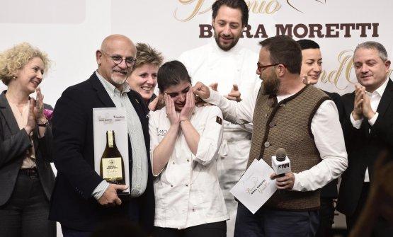 Claudio Sadler e Giancarlo Morelli premiano la vincitrice 2017-2018, Solaika Marrocco