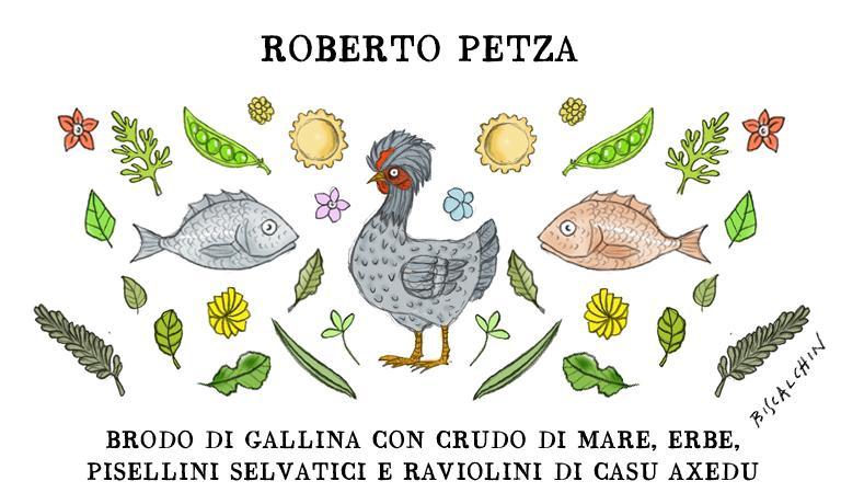 Il Brodo di gallina con crudo di mare, erbe, pisellini selvatici e raviolini di casu axedu è uno dei tanti piatti del menu di S'Apposentu, a Siddi, nel cuore della Sardegna