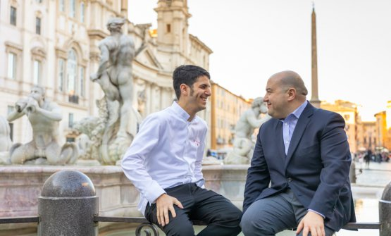 Lo chef Ciro Scamardella assieme ad Alessandro Pipero, patron dell'omonimo ristorante